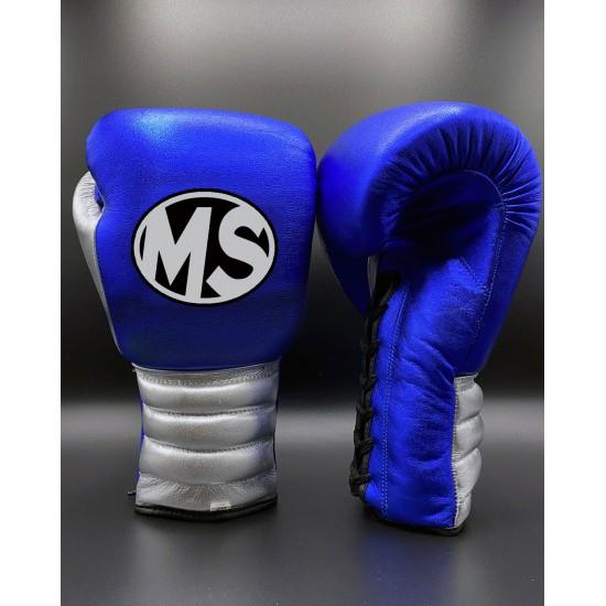 Metallic Blue Silver Boxing Gloves 14oz
