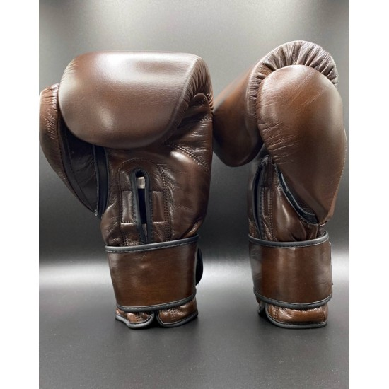 Chocolate Brown Leather Boxing Gloves 16oz