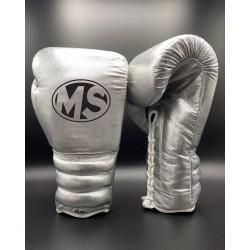 Silver Metallic Fighting Leather Boxing Gloves 12oz, 14oz, 16oz