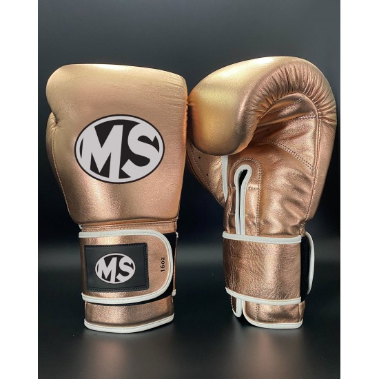 Rose Gold Metallic Fighting Leather Boxing Gloves 16oz
