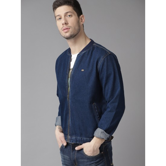New man patchwork matching color loose personality fashion bomber denim jacket men