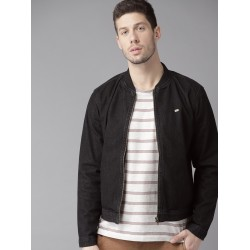 Black Color Fashion Denim Bomber Varsity Man Jacket