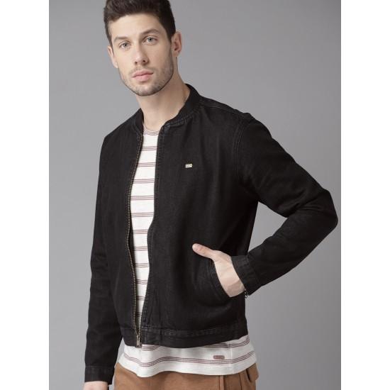 Black Color Fashion Denim Bomber Varsity Man Jacket