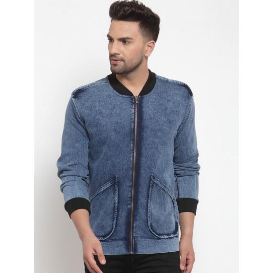 Custom Logo Printed Autumn Windproof Cotton Fashion Men's Blue Denim Jacket