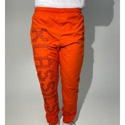 Orange Sweat Pant Jogger big embroidery on right leg Microfiber trouser