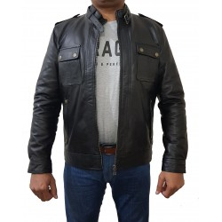 Black Fashion Cow Sheep Hide Leather Jacket