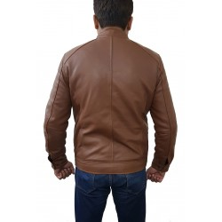 Light Brown Fashion Cow Sheep Hide Leather Jacket