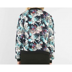 New Fashion Custom Print Polyester Floral Bomber Parka Ladies Spring Jacket