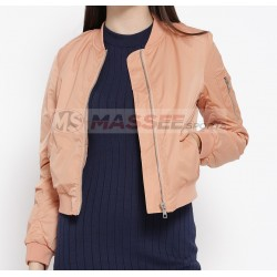 Attractive Satin Bomber Jacket Silk Woman Embroidered Bomber Jacket Wholesale