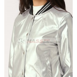 Silver Bomber Jacket Customized Casual Wear Sublimation Bomber Jacket For ladies