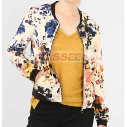 Fashion Retro Floral Print Women Coat Casual Zipper Up Bomber Jacket Ladies Casual