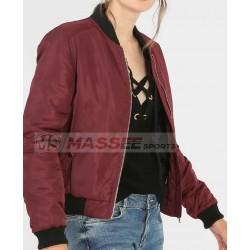 High Quality Lady Bomber Jacket Solid Zipper Coat Women'S Flight Jacket