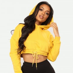 New stylish Yellow women fitness hoodies custom logo crop top wholesale women hoodies