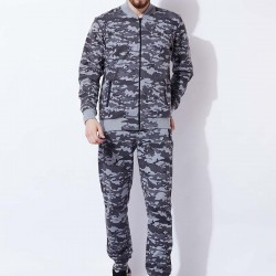 New custom high quality sweatsuit for men camouflage grey color slim fit fashion tracksuit