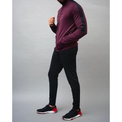Wholesale Pakistan Massee Sports Maroon Black Polyester Dri-Fit Products Blank Microfiber Tracksuit