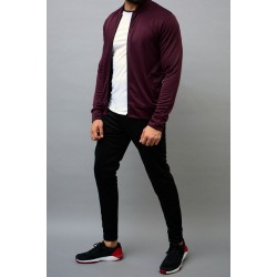 high quality luxury high neck premium fitted black and maroon microfiber sportswear clothing tracksuit