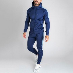 Casual Two Pieces Set Zipper-up Slim-fitting Men's Tracksuit With Strips