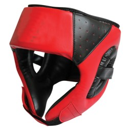 Black & Red Leather Head Guard