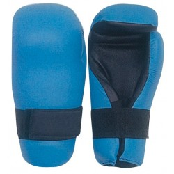 Pro Blue With Designs Semi Contact Open Palm Gloves