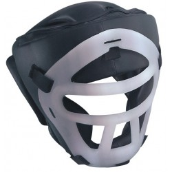 Grey Custom Boxing Head Guard with plastic frame