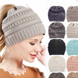 Wholesale New Fashion Ponytail Beanie Hat Casual Knitted Cap Women Messy Bun Hats