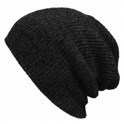 Comfortable black common man and woman custom acrylic knitted beanie