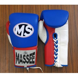 Custom high quality White blue red Leather Boxing Gloves