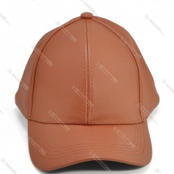 Custom Brown Genuine Leather Hat Adjustable Baseball Ball Cap