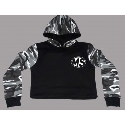 High Quality Women Camo Crop Top Cotton Hoodie Camouflage Stitching Black Jacket