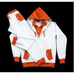 Orange & White 100% Cotton Custom Sweat Suit